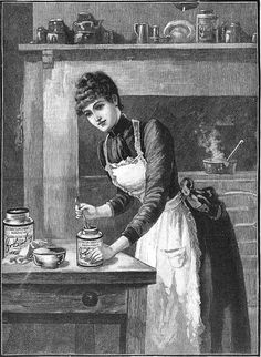 A classically beautiful illustration for Liebig Extract of Beef, 1890. #food #ad #Victorian #woman #kitchen #cooking #1800s #illustration