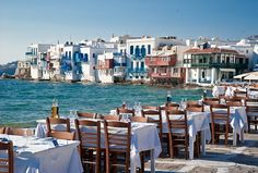 What a dinner setting...Mikonos, Greece #greece