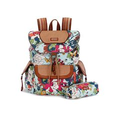 Sakroots Artist Circle Flap Backpack ($79) ❤ liked on Polyvore featuring bags, backpacks, seafoam flower power, detachable key ring, day pack backpack, laptop rucksack, flap backpack and pattern backpack