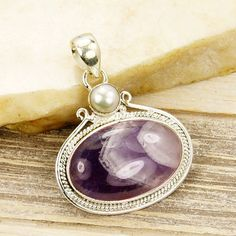 Banded Chevron Amethyst Pendant & .925 Sterling by TheSilverPlaza