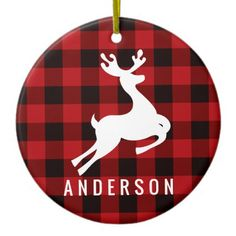 Square holiday ornament features a monogram of your last name (or other text) with a red and black check plaid buffalo patterned frame and white reindeer silhouette. Tartan Christmas, Cute Christmas Tree, Christmas Themes, Christmas Crafts, Christmas Holiday, Rustic Christmas, Holiday Decor, Christmas Decorations, Reindeer Silhouette