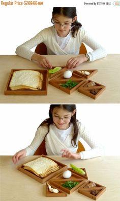 15% OFF - Pre - Passover SALE Passover Seder plate, Modern pesach and Matzah plate, Wood tangram passover plate, Modern judaica art, Jewish holidays,