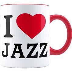 Caneca Personalizada I Love Jazz 04 Alça Vermelha