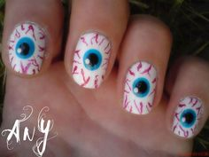 Best Scary Nail Art Designs Ideas Pictures 2013 2014 11 Best & Scary Halloween N Cute Halloween Nails, Halloween Eyeballs, Halloween Nail Designs, Scary Halloween, Halloween Coffin, Women Halloween, Halloween Pictures, Halloween Costumes, Fingernail Designs