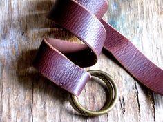 Brown leather belt Gold metal buckle Women  leather by artwardrobe, $35.00