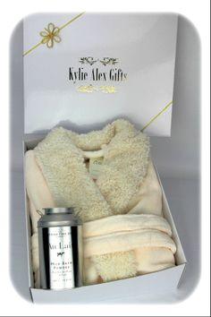Comfy Sherpa robe and Scottish Fine Soaps  Au Lait, Milk Bath Powder.