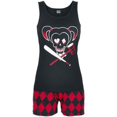 - Set of pyjamas - Front print - Shorts with all-over print - Elastic waistband and drawstring Everyone knows the 'Suicide Squad', at the very least since the release of the movie in 2016. Harley Quinn is a real fan favourite and features on these black and red pyjamas. The two-piece ,top and shorts, pyjama suit has a cute Harley Quinn skull logo print on the front.