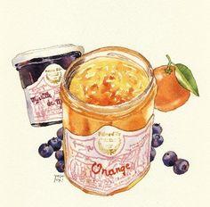 Orange marmalade ..blueberries.