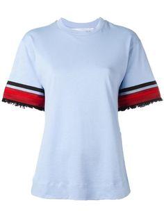 Shop Victoria Victoria Beckham embellished sleeve T-shirt.
