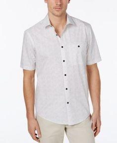 Alfani Men's Geo-Print Shirt, Created for Macy's - White XXL