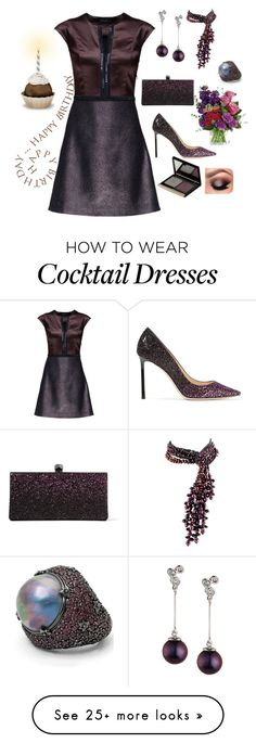 """""""party dress"""" by mynextlife on Polyvore featuring Lattori, Belpearl, Jimmy Choo, Kevyn Aucoin and Stephen Dweck"""