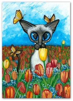 Siamese Cat Butterfly Whisper Tulip Flowers Spring ArT - Art Prints or ACEOs by Bihrle ck424