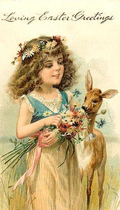 Vintage Easter postcard. #Easter #flowers #girl #deer