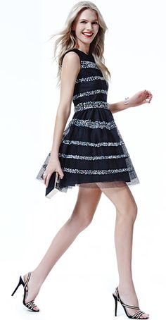 Gorgeous shape to add a few more curves to a ruler body shape!  RED Valentino JEWEL STRIPED DRESS