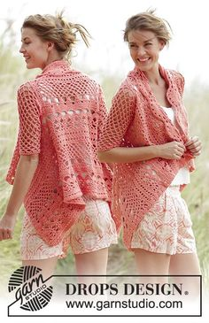 """Crochet DROPS jacket worked in a square with lace pattern in """"Paris"""". Size: S - XXXL."""