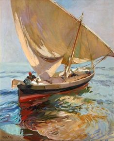 Seeking superior fine art prints of Setting Out to Sea, Valencia by Joaquin Sorolla y Bastida? Claude Monet, Spanish Painters, Spanish Artists, Renoir, Pinterest Pinturas, Kunst Online, Virtual Art, European Paintings, Art Academy