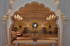 The lobby of the Fairmont Jaipur in India.