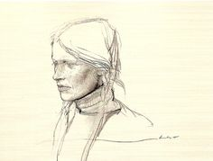 Andrew Wyeth, pencil sketch for the painting Braids, 1979 - Helga