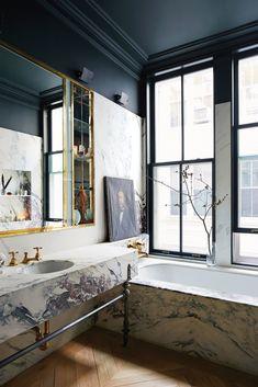 Jenna Lyon's Soho Loft Marble Bathroom