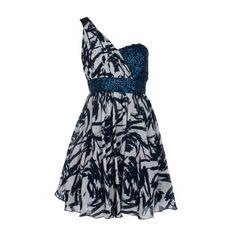 Navy Cream One Shoulder Embellished Dress | Dresses | Desire ($20) ❤ liked on Polyvore featuring dresses, vestidos, short dresses, navy blue cocktail dress, one shoulder dress, blue mini dress and party dresses