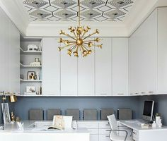Tray ceiling with wallpaper inset