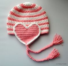 Valentine crochet hat pink and white hat with by Kamillascrochet