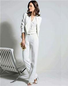 Smoking blanc femme Tailleur Pantalon Femme Mariage, Tailleur Femme Chic,  Tenue Mariage Femme, 5bbdc59c0535