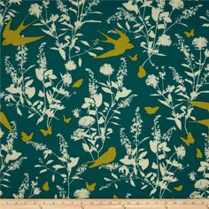 Joel Dewberry Bungalow Swallow Study Teal from @fabricdotcom  Designed by Joel Dewberry for Free Spirit, this cotton print is perfect for quilting, apparel and home decor accents.  Colors include cream, lime and teal.