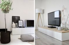 Houten blad op tv-meubel
