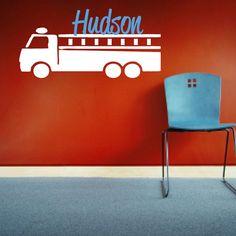 Firetruck with Name Wall Decal - Custom Children's Boy Bedroom Vinyl Sticker - Fire Truck Wall Decor - CM141A