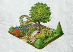Im harmonisch komponierten Bauerngarten gedeiht mittig ein prächtiger Apfelbaum, der vom gelben Sonnenhut oder den herrlichen Pfingstrosen umschwärmt wird.