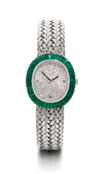 Lady's 18K White Gold, Diamond and Emerald Oval Bracelet Watch, Audemars Piguet