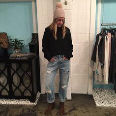 Kayla's Fall Favorite Nili Lotan Gigi Sweater   Yves Salomon Fox Beanie   Adaptation Hi Rise Wide Leg Denim   Veronica Beard Landon Bootie