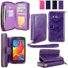 For Samsung Galaxy Avant Case - Cellularvilla PU Leather Flip Wallet Bag Pouch Case with Credit Card Slots Pockets Cover For Samsung Galaxy Avant G386 (T-Mobile) (Purple1)