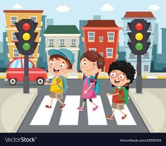Of kids walking across crosswa Royalty Free Vector Image Math For Kids, Crafts For Kids, Safety Rules For Kids, Child Safety, Road Safety Poster, Crab Art, Boarder Designs, Preschool Art Activities, Transportation Theme