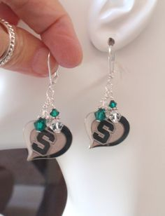 Michigan State Earrings, Spartans Jewelry, Green Crystal Earrings, College Mich St Spartans Basketball Football Bling Accessory by scbeachbling on Etsy