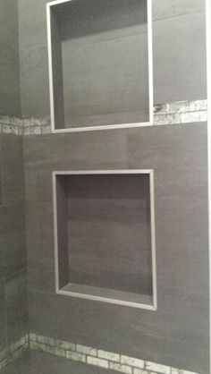 Plain/solid tile with glass accent tile in Master shower