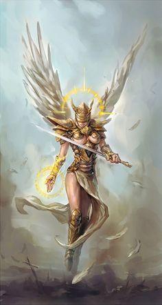 Female archangel warrior with golden armor
