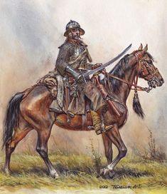 Anatoly F Telenik - Wczesny husarz - AD 1610 High Fantasy, Medieval Fantasy, Fantasy Art, Military Art, Military History, Historical Art, Fantasy Inspiration, Illustrations, Renaissance