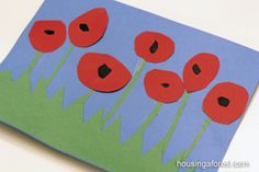"""Keeffe- Poppy Flower ~ Remembrance Day Craft and POEM """"In Flanders Fields"""" About the War Nov celebrated. via housingaforest Remembrance Day Activities, Veterans Day Activities, Remembrance Day Poppy, Art Activities, Poppy Craft For Kids, Crafts For Kids, Arts And Crafts, Craft Kids, Toddler Crafts"""