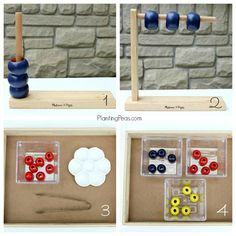 Melissa & Doug Wooden Abacus Hack -- How to create 13 Montessori-inspired activities from this hack. Part 1 has four activities.