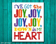 I've got the JOY down in my heart. Bible Songs. Childrens Church Decor by LittleLifeDesigns