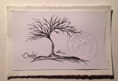 Fine tip archival black ink on drawing paper 5.5 x 3.5  Feel Good Collection are original and unframed fine art tree drawings by Andrea Currie. These not duplicated and one-of-a-kind fine art illustrations are stamped, dated and signed by the artist.  www.pomonalifeshop.com