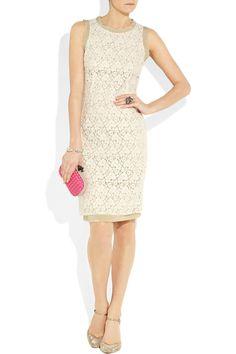 Chiffon-trimmed lace dress