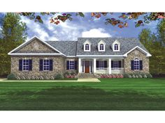 2,002sf Traditional Country Style Home With Covered Front Porch And Dormers