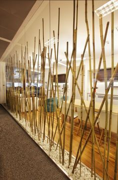 Partition made of Bamboo Poles -  From Turkcell Maltepe Plaza by mimaristudio | #InteriorDesign #BambooPartition #OfficeDesign |