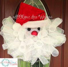 Curly Santa Wreath by aDOORableDecoWreaths on Etsy