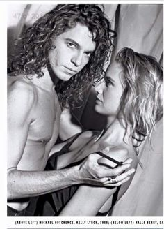 Michael Hutchence with actress Kelly Lynch, 1988