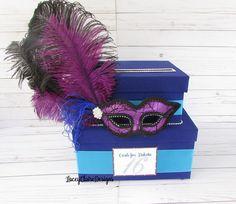 Masquerade Card Box, Sweet 16 Card Box, Card Box Masquerade Theme, Fabulous Forty Card Holder, Gift Card Box Holder for Parties, Custom