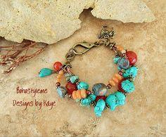 Boho Bracelet Junk Gypsy Turquoise Jewelry Rustic by BohoStyleMe